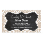 Retro Chalkboard Almond Color Damask Pattern Double-Sided Standard Business Cards (Pack Of 100)