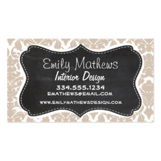 Retro Chalkboard Almond Color Damask Pattern Business Card Template