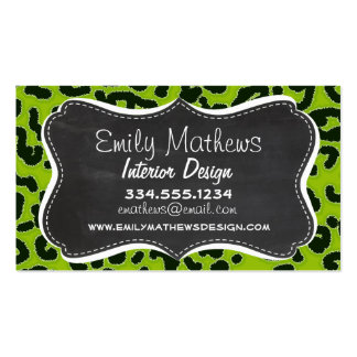 Retro Chalkboard; Apple Green Leopard Animal Print Double-Sided Standard Business Cards (Pack Of 100)