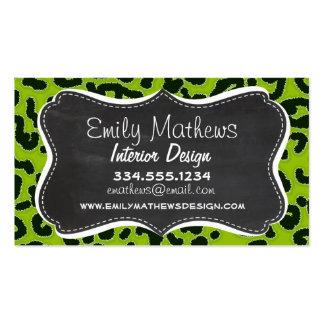 Retro Chalkboard Apple Green Leopard Animal Print Business Card Templates