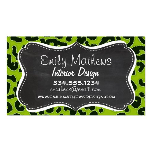 Retro Chalkboard; Apple Green Leopard Animal Print Business Card Templates