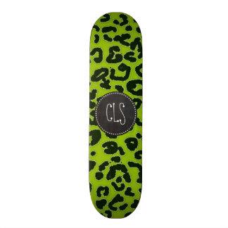 Retro Chalkboard; Apple Green Leopard Animal Print Skate Boards