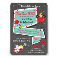 Retro Chalkboard Baby Shower Barbecue Invitation