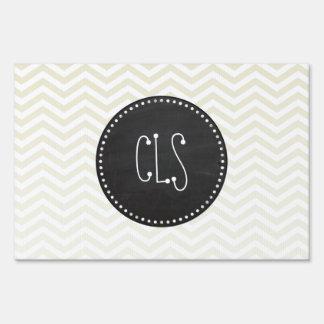 Retro Chalkboard; Beige Chevron; zig zag Lawn Sign