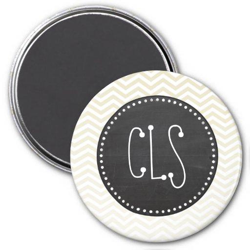 Retro Chalkboard; Beige Chevron; zig zag 3 Inch Round Magnet