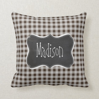 Retro Chalkboard Bistre Brown Gingham; Checkered Throw Pillow