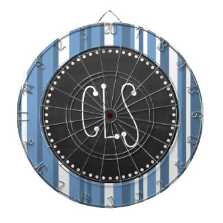 Retro Chalkboard Blue-Gray Stripes; Striped Dartboard With Darts
