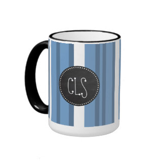 Retro Chalkboard Blue-Gray Stripes; Striped Ringer Coffee Mug