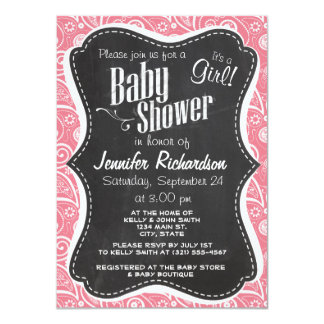 "Retro Chalkboard; Blush Pink Paisley; Floral 4.5"" X 6.25"" Invitation Card"