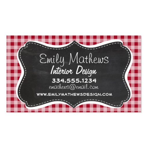 Retro Chalkboard; Carmine Red Gingham; Checkered Business Card Templates
