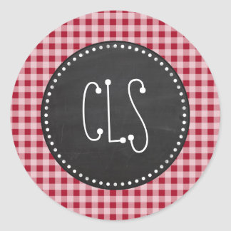 Retro Chalkboard; Carmine Red Gingham; Checkered Classic Round Sticker