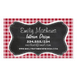 Retro Chalkboard; Carmine Red Gingham; Checkered Double-Sided Standard Business Cards (Pack Of 100)