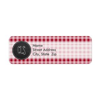 Retro Chalkboard; Carmine Red Gingham; Checkered Return Address Label
