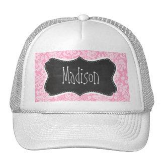 Retro Chalkboard Carnation Pink Damask Pattern Trucker Hat