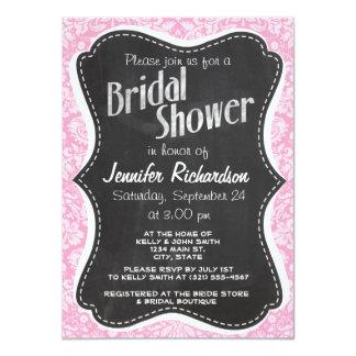 Retro Chalkboard Carnation Pink Damask Pattern Invitations