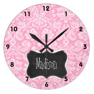 Retro Chalkboard Carnation Pink Damask Pattern Large Clock