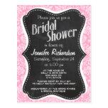 Retro Chalkboard Carnation Pink Damask Pattern Post Card