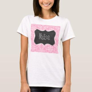 Retro Chalkboard Carnation Pink Damask Pattern T-Shirt