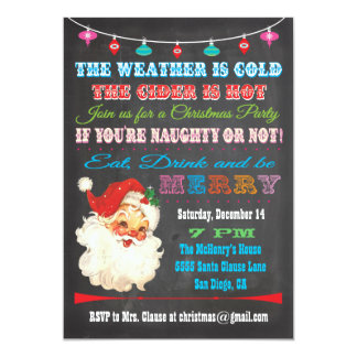"Retro Chalkboard Christmas Party Invitation 5"" X 7"" Invitation Card"