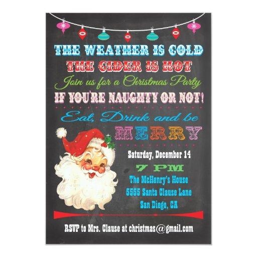 Retro Christmas Party Invitations: Retro Chalkboard Christmas Party Invitation