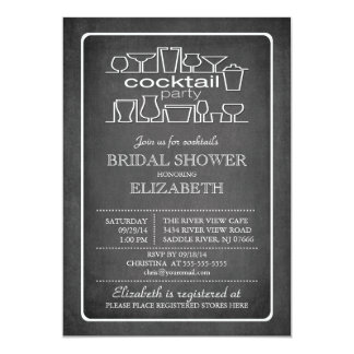 Retro Chalkboard Cocktail Party Bridal shower Card