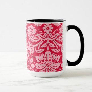Retro Chalkboard; Crimson Damask Pattern Mug
