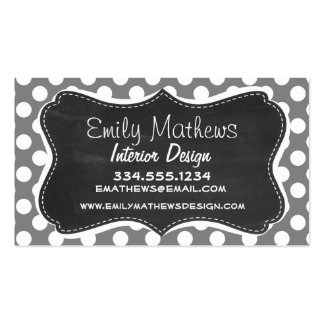 Retro Chalkboard; Dark Gray Polka Dots Double-Sided Standard Business Cards (Pack Of 100)