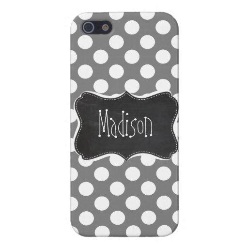 Retro Chalkboard; Dark Gray Polka Dots iPhone 5 Case