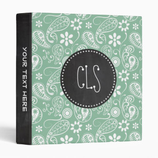 Retro Chalkboard; Dark Sea Green Paisley; Floral 3 Ring Binder