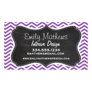 Retro Chalkboard; Deep Lilac Chevron Business Card Template