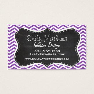 Retro Chalkboard; Deep Lilac Chevron Business Card
