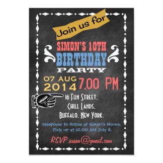 Retro Chalkboard Kids Birthday Party Invitation