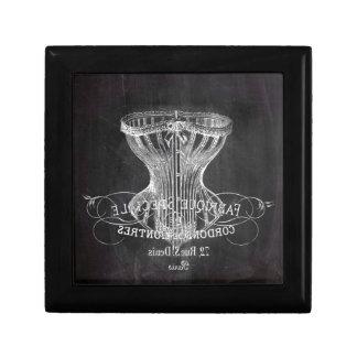 Retro chalkboard scripts victorian lingerie corset jewelry box