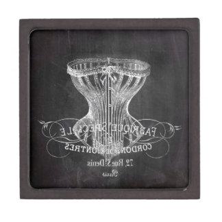 Retro chalkboard scripts victorian lingerie corset keepsake box