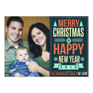 Retro Chalkboard Typography Christmas Photo 4.5x6.25 Paper Invitation Card