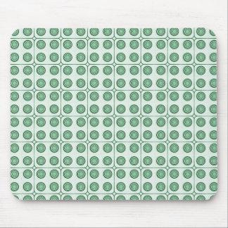 Retro Charm Circles Mousepad, Dark Green Mouse Pad