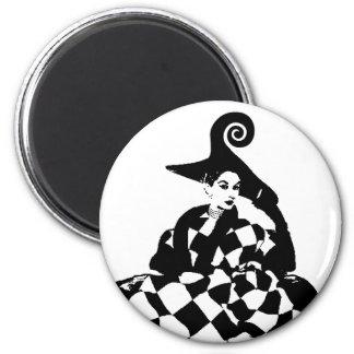 Retro Checker & Swirl High Fashion Woman 2 Inch Round Magnet