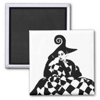 Retro Checker & Swirl High Fashion Woman 2 Inch Square Magnet
