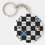 Retro Checkerboard Music Cassettes & More Basic Round Button Keychain