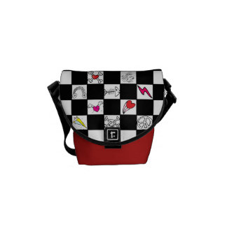 Retro Checkerboard with Doodles Messenger Bag