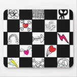Retro Checkerboard with Doodles Mousepads