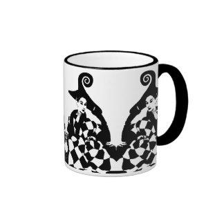 Retro Checkered & Swirled High Fashion Women Ringer Mug