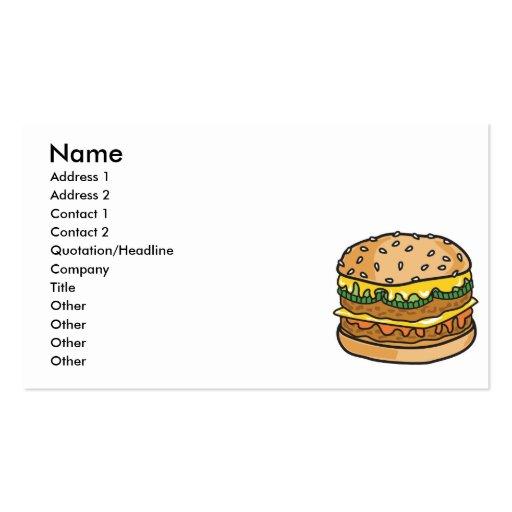 retro cheese hamburger business card