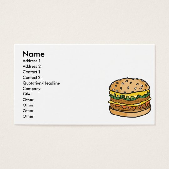 retro cheese hamburger business card