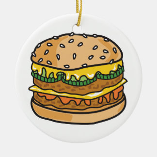retro cheese hamburger ceramic ornament
