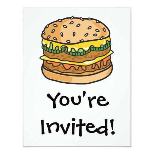 retro cheese hamburger 4.25x5.5 paper invitation card