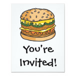 "retro cheese hamburger 4.25"" x 5.5"" invitation card"
