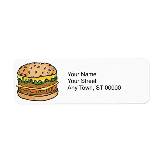 retro cheese hamburger label