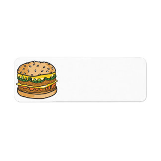 retro cheese hamburger return address label