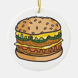 retro cheese hamburger christmas ornament